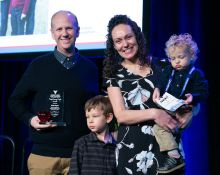 Kyle Hayes, winner of the People Saving People Award, with Matthew, Jennifer and Micah Hayes