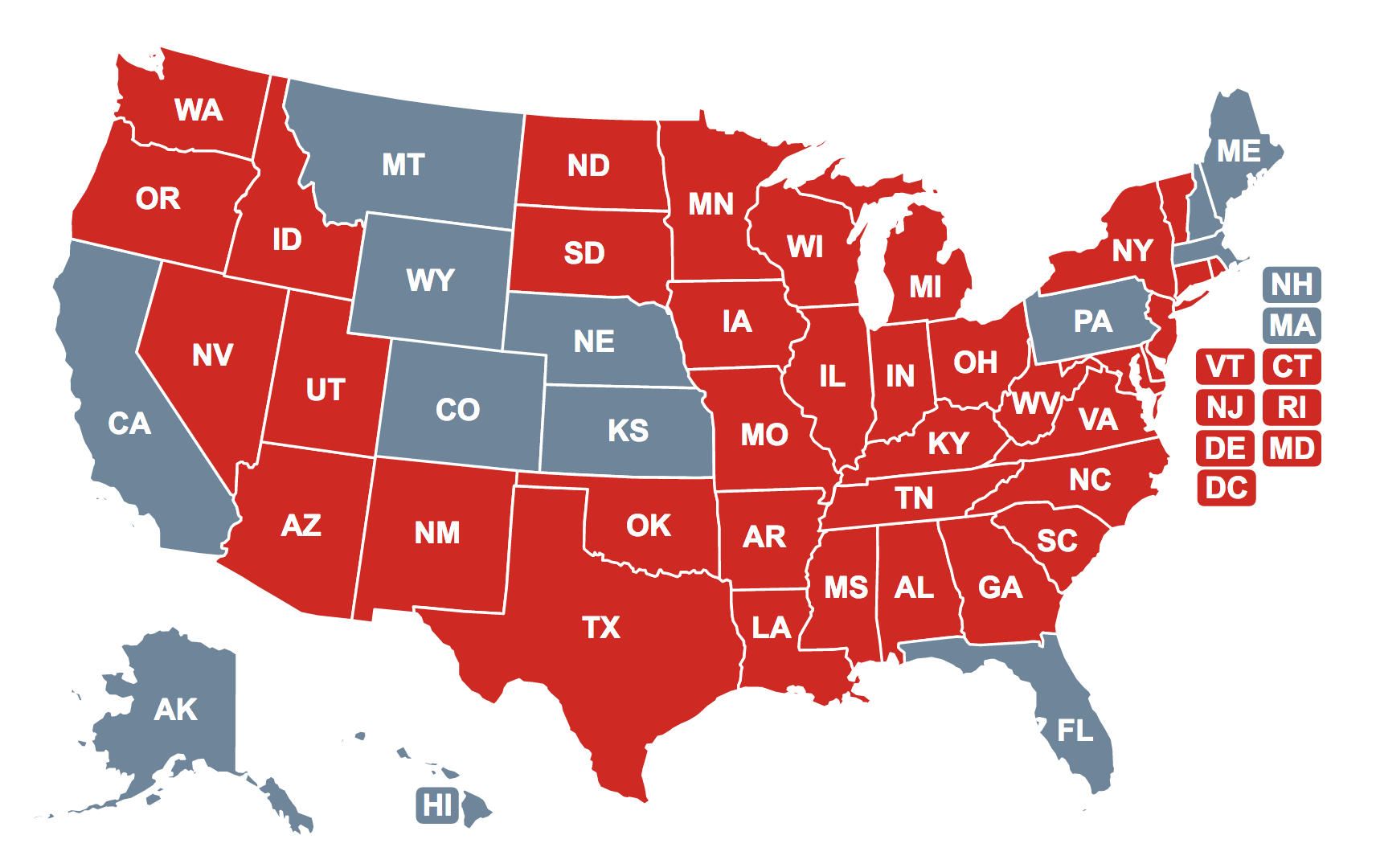 States requiring CPR education by high school graduation noted in red