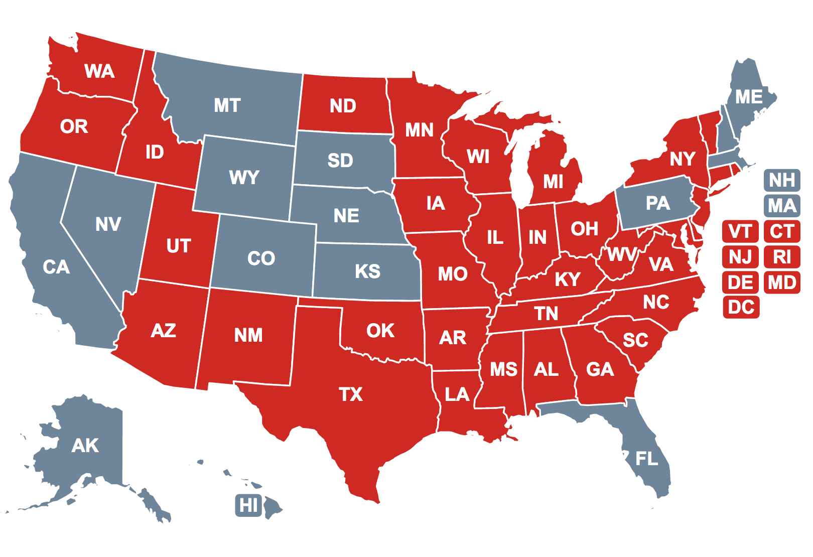 States That Require Cpr Training Before High School Graduation Are Depicted In Red